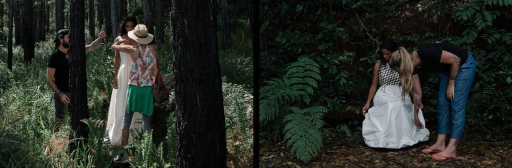 Shooting d'inspiration pour une créatrice de robe de mariée dans une forêt en Nouvelle Calédonie